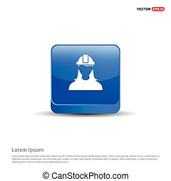 Engineer user Icon - 3d Blue Button