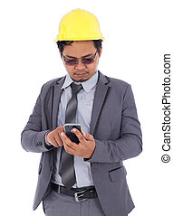 engineer using mobile phone isolated on white background