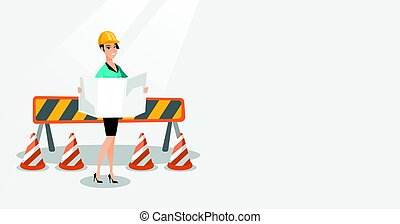 Engineer watching a blueprint vector illustration.