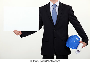 Engineer with a board left blank for your message