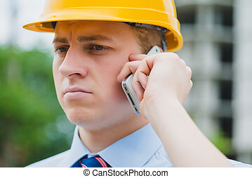 engineer with a phone