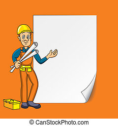 Engineer with blank paper