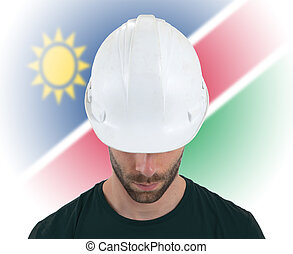 Engineer with flag on background - Namibia