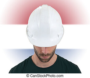 Engineer with flag on background - Netherlands
