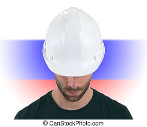 Engineer with flag on background - Russia
