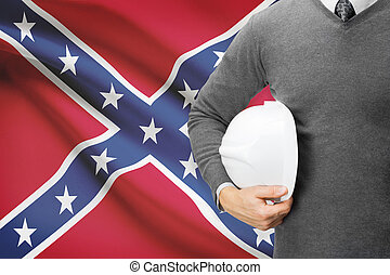 Engineer with flag on background series -