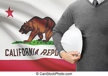 Engineer with flag on background series - California