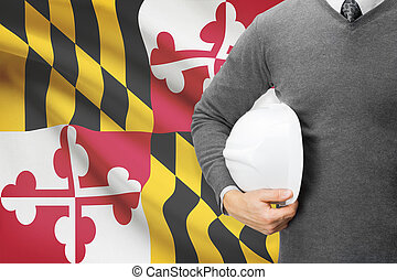 Engineer with flag on background series - Maryland