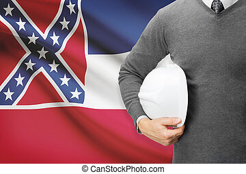 Engineer with flag on background series - Mississippi