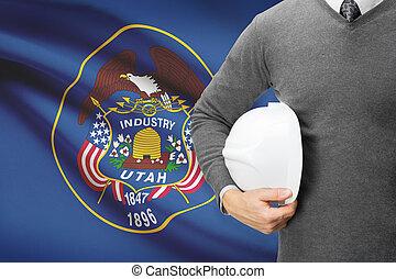 Engineer with flag on background series - Utah