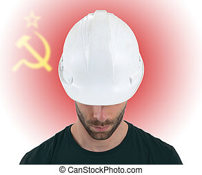 Engineer with flag on background - USSR