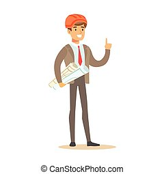 Engineer With Plans Wearing Hard Hat , Part Of Roadworks And Construction Site Series Of Vector Illustrations