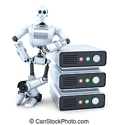 Engineer with stack of servers. Isolated. Contains clipping path