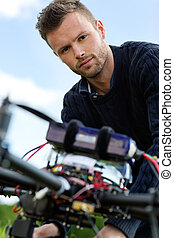 Engineer With UAV Helicopter