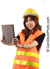 Engineer woman and Tablet in her hand