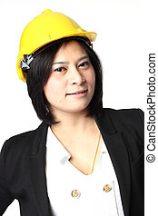 Engineer woman in yellow Hat