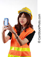 Engineer woman photographing