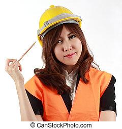 Engineer woman thinking