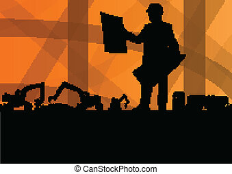 Engineer woman with excavator loaders and tractors digging at industrial construction site vector background illustration