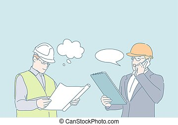 Engineer work, project discussion, planning concept