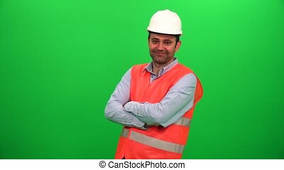 Engineer Worker Crossing His Arms and Smiling on Green Screen.