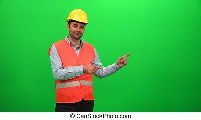 Engineer Worker Making Presentation Gestures on Green Screen. Showing Left Side.