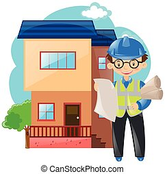 Engineer working on building house