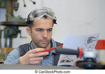 engineer working on project