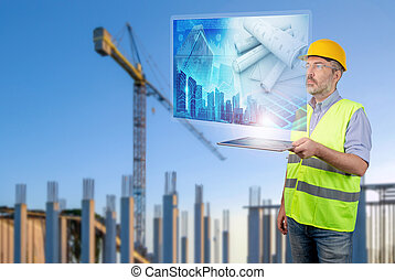 engineer working with buildings digital plan
