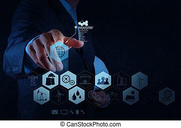 engineer works industry diagram on virtual computer as ...