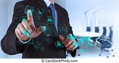 engineer works industry diagram on virtual computer ...