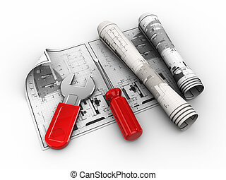 engineering - 3d illustration of rolled blueprints and tools