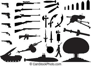 engineering., arma, ilustração, silhuetas, vetorial, vário