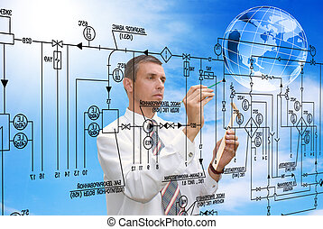 Engineering automation building designing. Energy