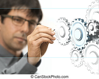 Engineering Background - Caucasian engineer drawing gears on...
