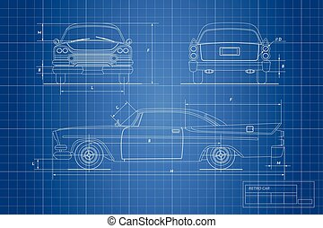 Engineering blueprint of retro car. Vintage cabriolet. Front, side and back view. Industrial drawing