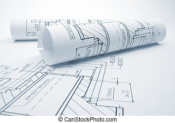 Blueprints of engineering component - blue tone