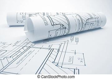 Engineering blueprints - Blueprints of engineering component...