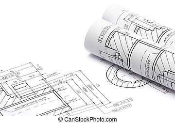 Blueprints of engineering component on white background