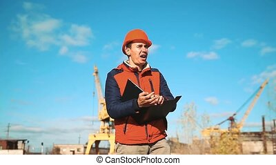 Engineering builder man Consulting People on construction...