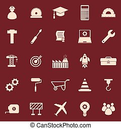 Engineering color icons on red background