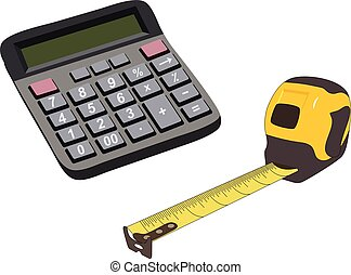 Engineering color icons set. Measuring tape, calculator. Vector isolated illustration.