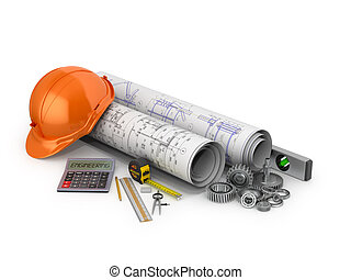Engineering concept, construction tools on a white background.3D illustration
