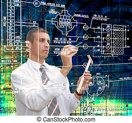 Engineering designing communication. Engineer