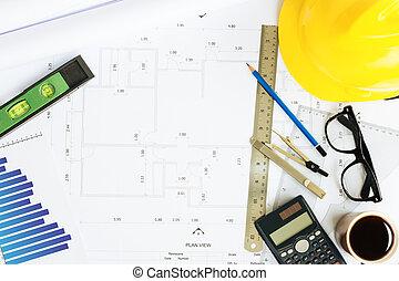 engineering desk on top view