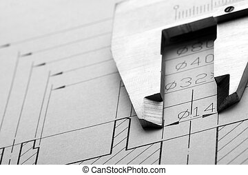 Engineering drawing and caliper