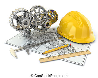 Engineering drawing. Gear, hardhat, pencil and draft.