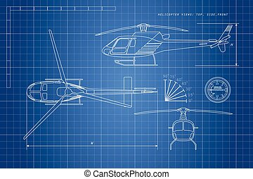 Engineering drawing helicopter on a blue background. Three views: top, side, front.