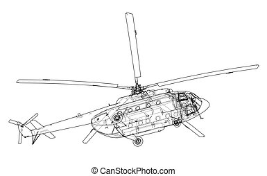 Engineering drawing of helicopter