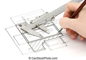 Engineering - engineer draw gearwheel, studio shot